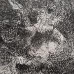 Forêt - Dessin au feutre noir - 15x15 cm
