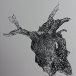 Souche - Feutre noir sur papier japon - 15x15 cm - 2017