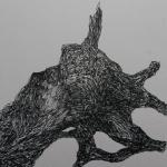 Souche - Feutre noir sur papier japon - 20x20 cm - 2017