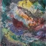 """Gravure eau forte et contre collage inspirée du texte """"Trouées"""" de Blaise Cendrars - 18x20cm"""