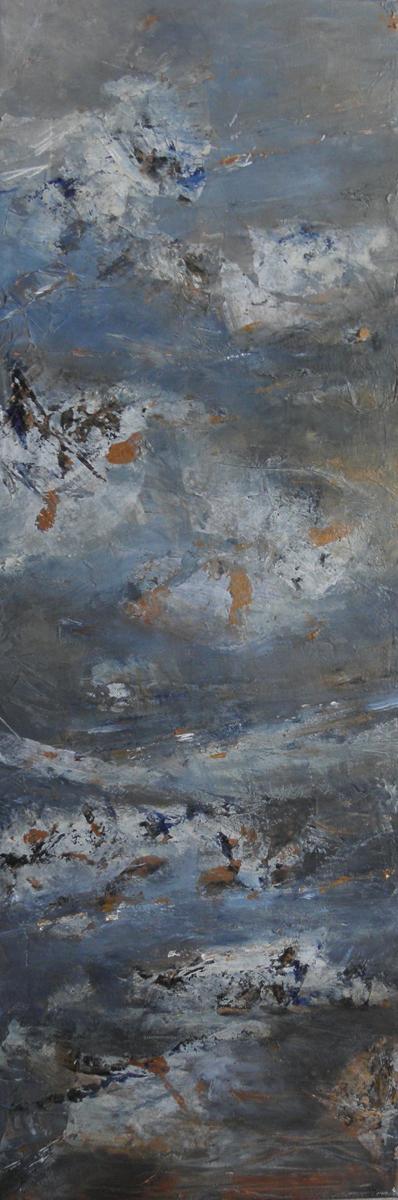 Tempête - Acrylique et papier marouflé sur toile - 30x90 cm - 2011